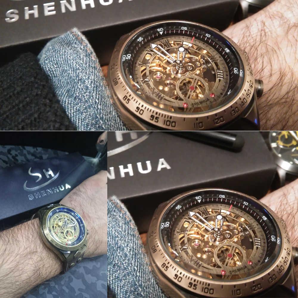Mekanik saatler Steampunk bronz otomatik İzle erkekler Vintage şeffaf İskelet İzle adam saat montre homme gemi 24 saat