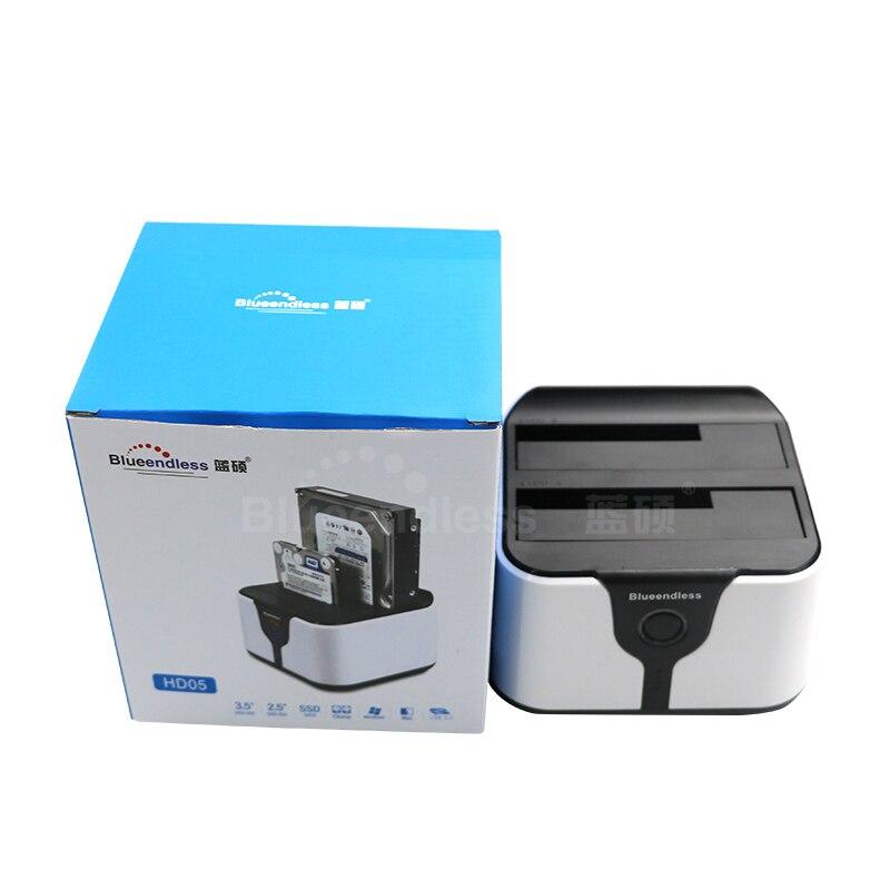 Prix pour Nouveau Double 2-bay hdd caddy sata & USB3.0 dur externe lecteurs Station D'accueil/Duplicateur pour 2.5/3.5 sata HDD Lire dur disque cas