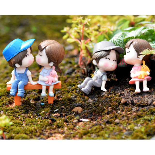 3pcsset mini stool couples dolls fairy garden miniatures diy micro landscape decor dollhouse - Fairy Garden Miniatures