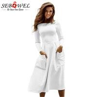 Sebowel Winter Round Neck Casual Long Dress Women Black Big Pocket Skater Dress Long Sleeve Pleated