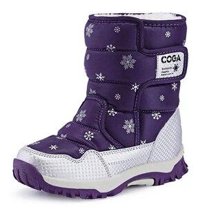 Image 2 - SKHEK bottes de neige imperméables pour filles, bottes dhiver pour enfants, chaussures chaudes en peluche, antidérapantes, couleur bonbon, noir, rouge, violet