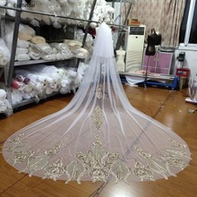 3 Meters White and Gold Lace Cathedral Length Applique Edge Wedding Bridal Veil with Comb