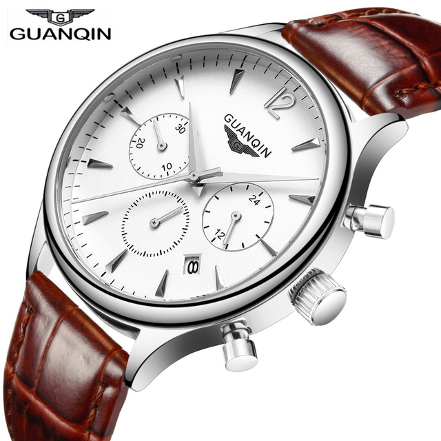 Guanqin Brand Luxury Men business Wrist watch Chronograph Leather Quartz watch Relogio Masculino A