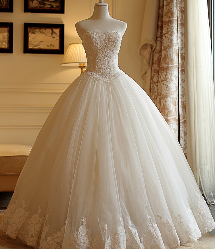 Wedding Gowns Accessories: Wonderful Robe De Marriage Strapless Lace Wedding Dresses