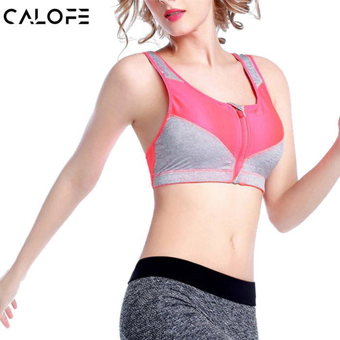 Actec Sporting Store CALOFE Professional Yoga Bra Women Patchwork Front Zipper Wire Free Sports Bra Shakeproof Push Up Breathable Running Bra Z30