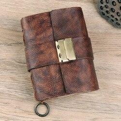 Manual diario con bloqueo doble secreto contraseña cerradura gruesa mano teñida cuero cuaderno cuero diario cuaderno diario