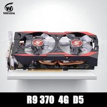 Video kartı 100% orijinal R9 370 4 GB 256Bit için GDDR5 grafik kartı ATI Radeon Oyunları