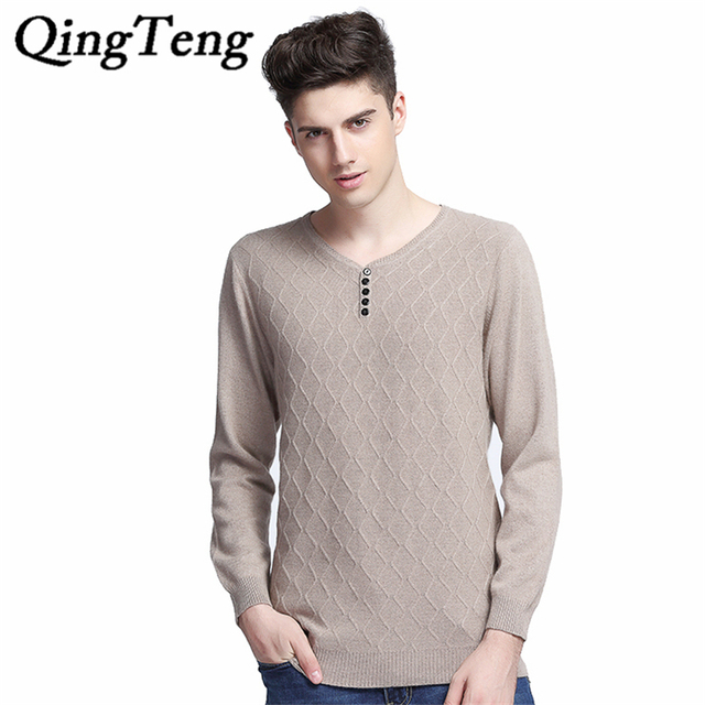 QingTeng 2016 Winter Brand New Fashion Men Cashmere Sweater Men Pullovers Long Sleeve Casual Cashmere Plus Size Clothing