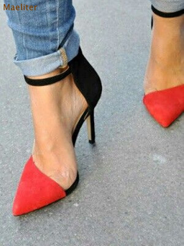 Women Red Black Sude Leather Contrast Color Pointed Toe