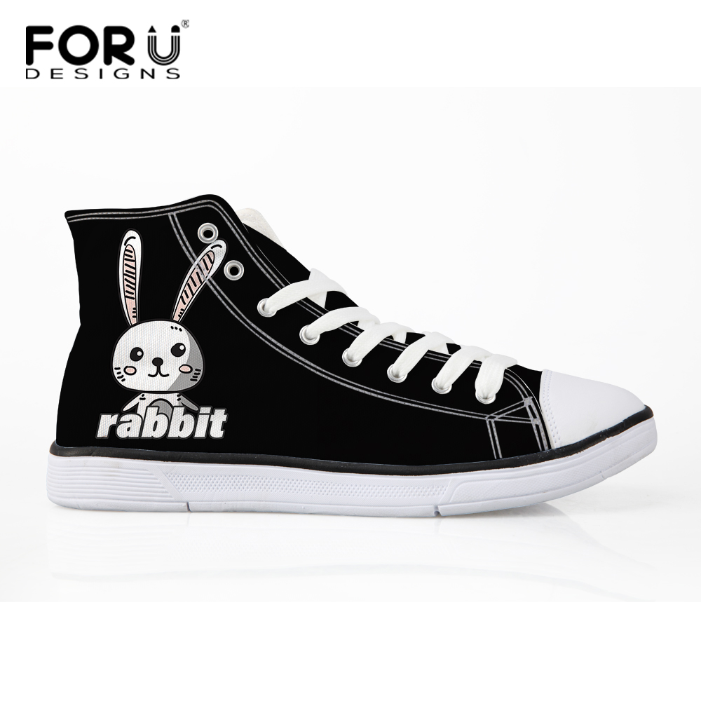 FORUDESIGNS Rabbit Printed Women High Top Zapatos de lona negros - Zapatos de mujer - foto 1
