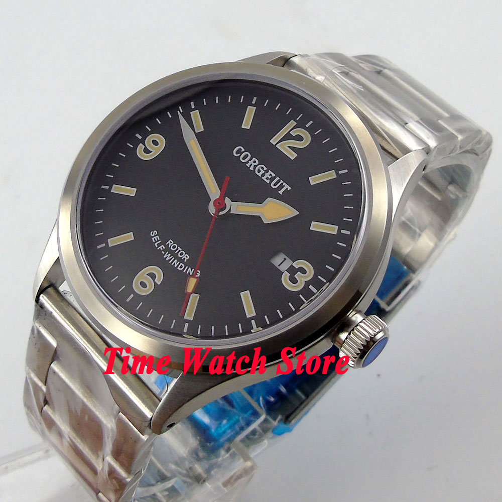 41mm corgeut black dial luminous sapphire glass 20ATM MIYOTA Automatic men's watch cor65 все цены