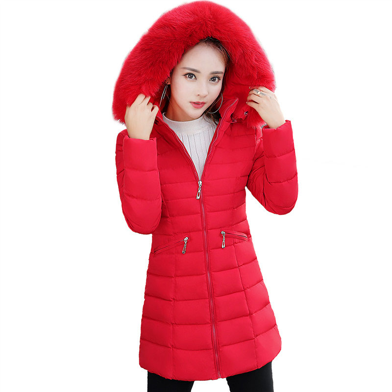 Winter Long Female Jackets 2017 New Faux Fur Collar Parkas Women Wadded Padded Coats Hooded Female Jacket Winter Overcoat FP0012 2017 winter faux fur collar parkas women long cotton coats hooded overcoat slim female jacket warm wadded padded coats fp0023