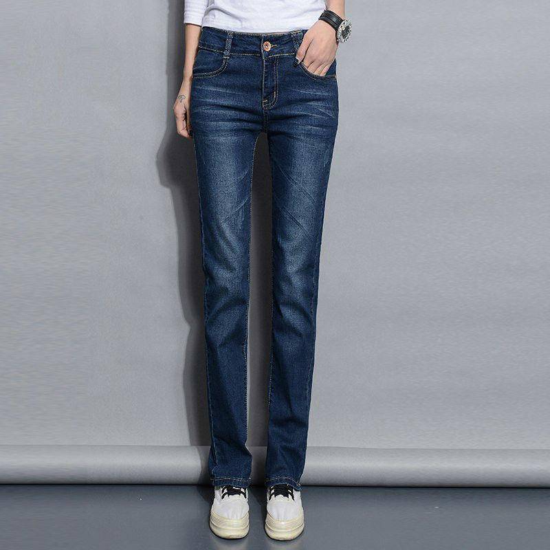 Straight Jeans Woman 2019 New Spring Autumn Fashion Casual Washed Blue High Waist Denim Trousers Jean Femme