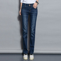 Straight Jeans Woman 2018 New Spring Autumn Fashion Casual Washed Blue High Waist Denim Trousers Jean Femme