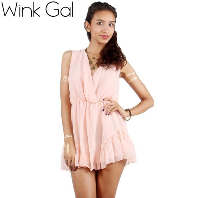 Wink gal rompers jumpsuit womens ruffles solto tendência verão chiffon v profundo sexy macacão promoção folhas de hortelã 2338