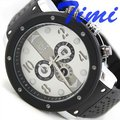 Mens Automatic Watch Steel N Rubber 3 Subdials Multi fT