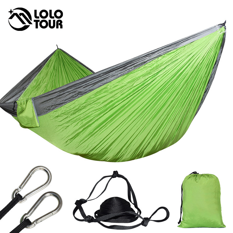 300 * 175cm 2 cilvēki liels izpletnis šūpuļtīkls dārza šūpoles Hamaca Double Camping Hammock telts 118 * 68 collu Survival Sleeping Hamak