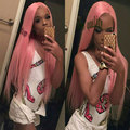 Synthetic lace front braided wig long straight synthetic lace front pink wig glueless heat resistant fiber for fashion women