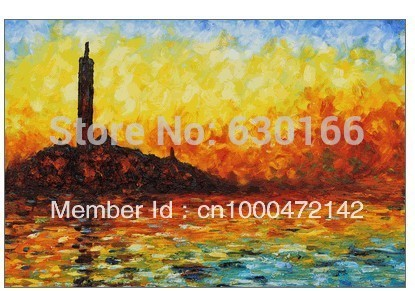 Hand-made Painting Oil Canvas San Giorgio Maggiore by Twilight Claude Monet Landscape Oil Painting Wall Decor