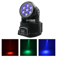 AUCD Mini 70W RGBW Full Color LED Moving Head Lamp DMX Disco Ball Spotlight DJ Party Beam Projector Stage Show Par Lights LE 7E