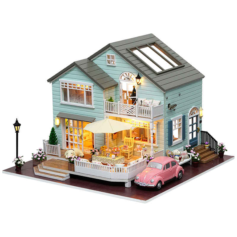 Cutebee DIY House Miniatura con muebles LED Music Dust Cover Modelo Building Blocks Juguetes para niños Casa De Boneca