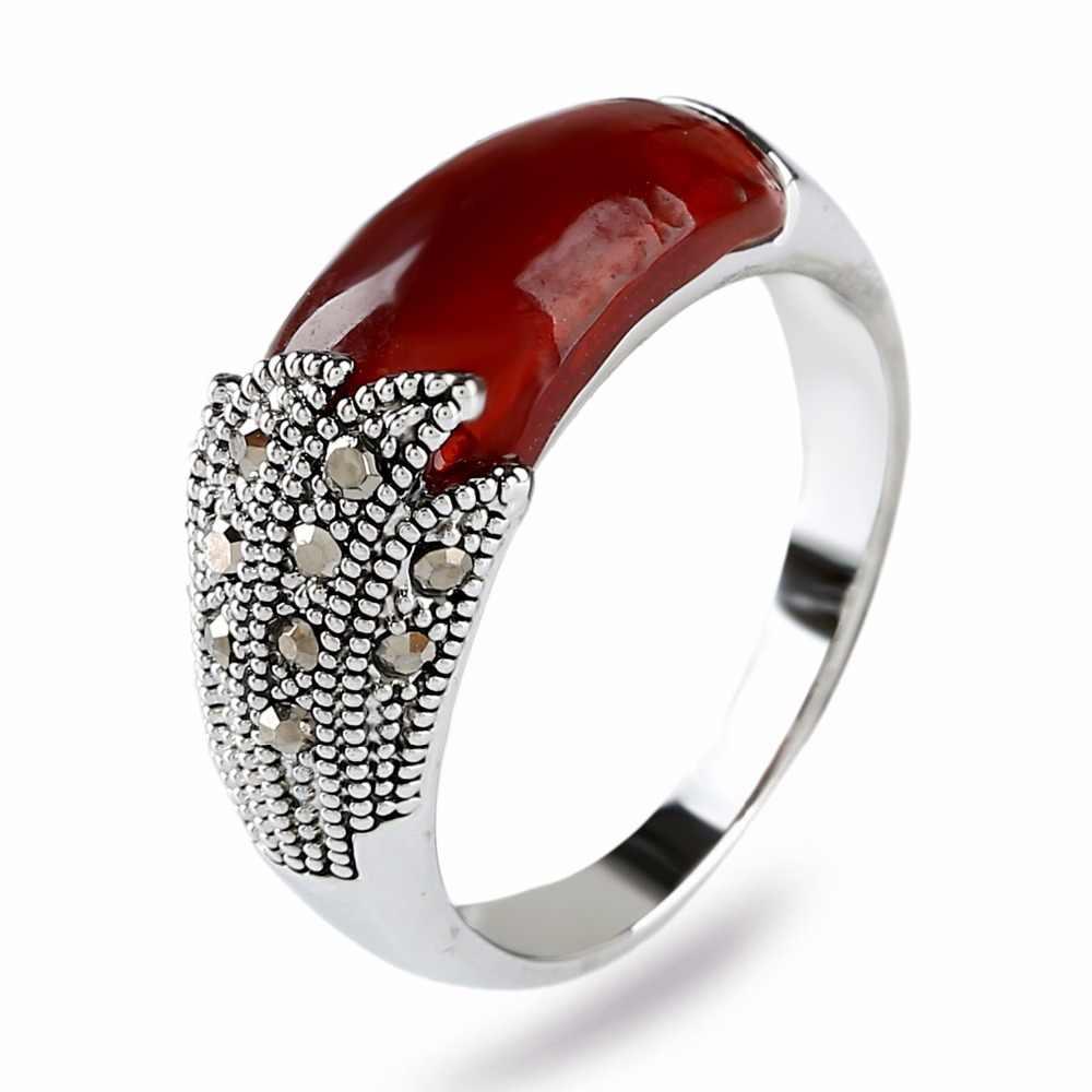 K's Gadgets Vintage เงินสีแดงเรซิ่นหินสีเขียวโอปอลแหวน Retro ทิเบตเงินแหวนสำหรับเครื่องประดับงานแต่งงานของผู้หญิง