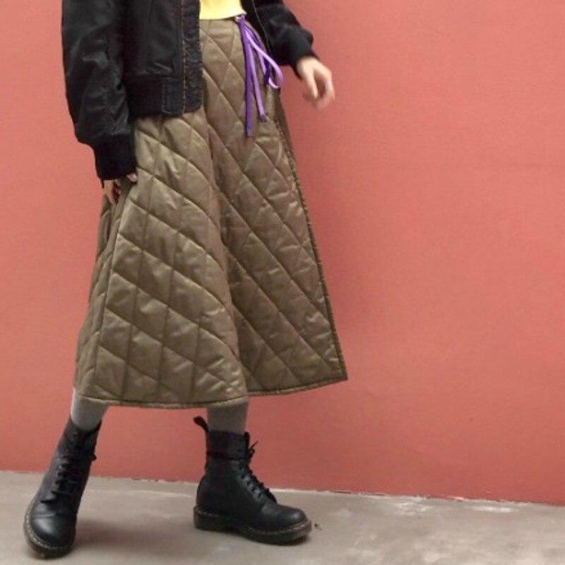 DEAT couleur unie deux-face portant diamant matelassé taille haute jupe Simple mode lâche femme 2019 automne hiver nouveau TC1127