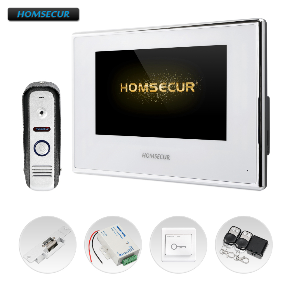 HOMSECUR 4 Wire AHD Video&Audio Smart Doorbell Electric Strike Lock Set Included BC021HD-S+BM718HD-W