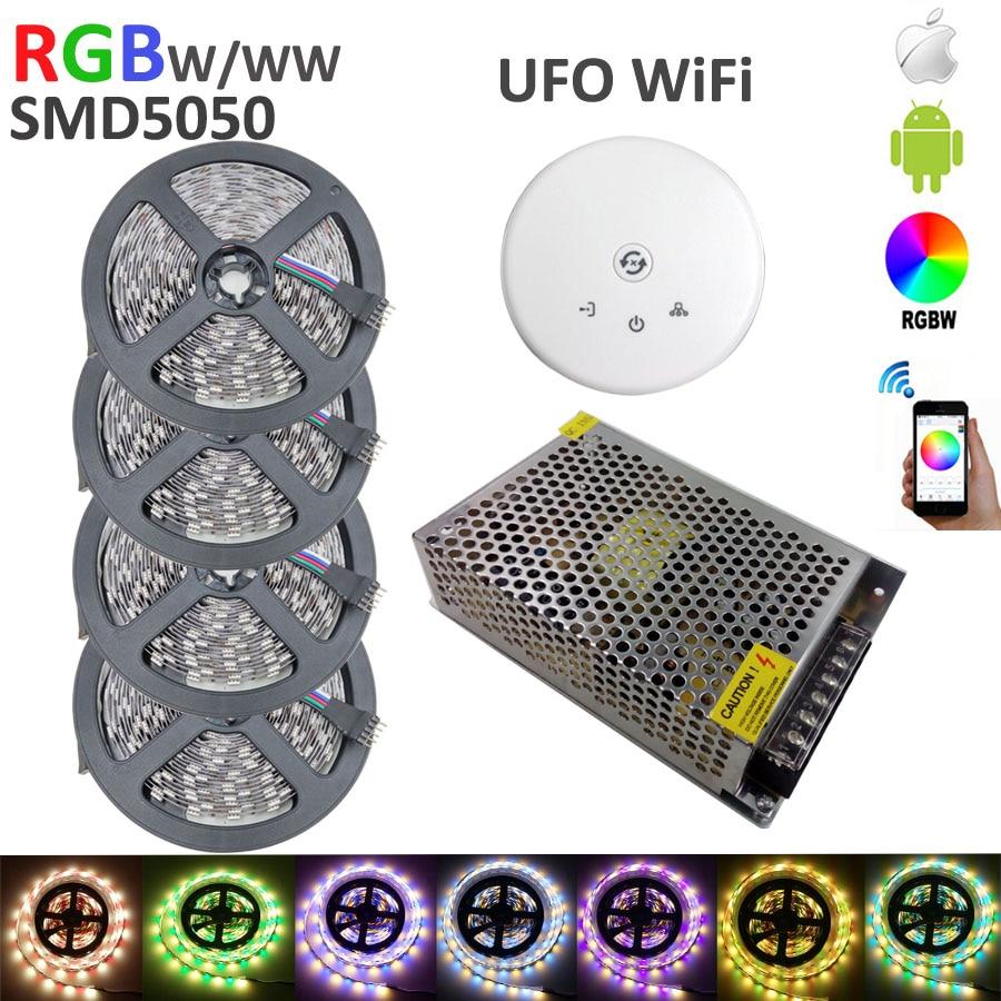 20m LED light Strip SMD 5050 RGBW RGBWW 1200LEDs 60LEDs/M LED Strip Transformer +UFO WiFi controller + 15A Power supply set Kit