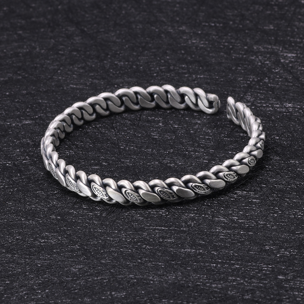 Real Sold 999 Pure Silver Braided Bangles For Men And Women Fish Cuff Bracelets Matte Process Opening Bracelets & Bangles magic fish bracelets