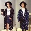 2017 mujeres de primavera y otoño de mezclilla estrellas imprimir básico abrigo largo chaqueta de abrigo de las mujeres de gran tamaño más el tamaño de mezclilla ocasional clothing corea