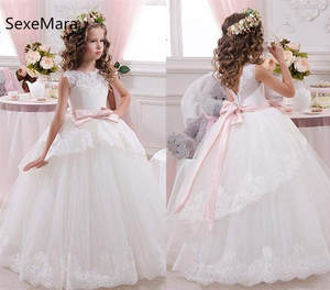 Ball-Gown Dresses First-Communion-Dress Flower-Girls Birthday Wedding White Lace O-Neck