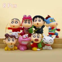 Anime cartoon lovely cute garage kit figures miniature 8 PCS Crayon Shin Chan toys table Decoration pvc hard gift for 8+ years