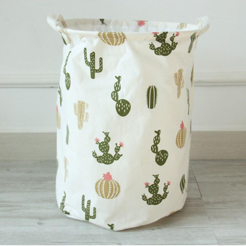 35 45cm Cactus Pattern Cotton Linen Storage Basket