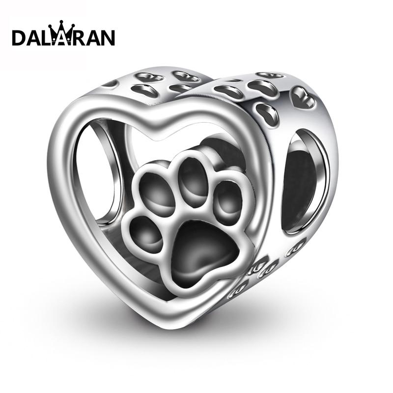 DALARAN 2019 Fashion  Silver 925 Jewelry Sterling Silver Animal Footprints Beads Fit Charm Bracelet Necklace For Women DIY Beads    - AliExpress