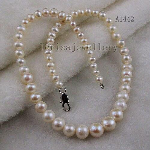 Terisa Pearljewelry AA 5-11mm Colore Bianco D'acqua Dolce Collana di Perle laureato Strand 18 pollici Partito di Modo della signora Regalo di nozze