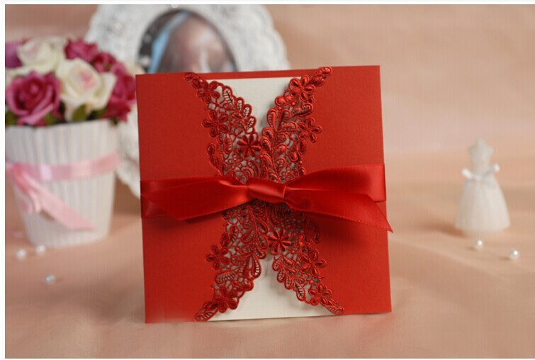 2017 White Red Lace Design Laser Cut Bow Wedding Invitations Card With Ribbon 10pcs Lot Free Shipping In Cards From Home Garden On