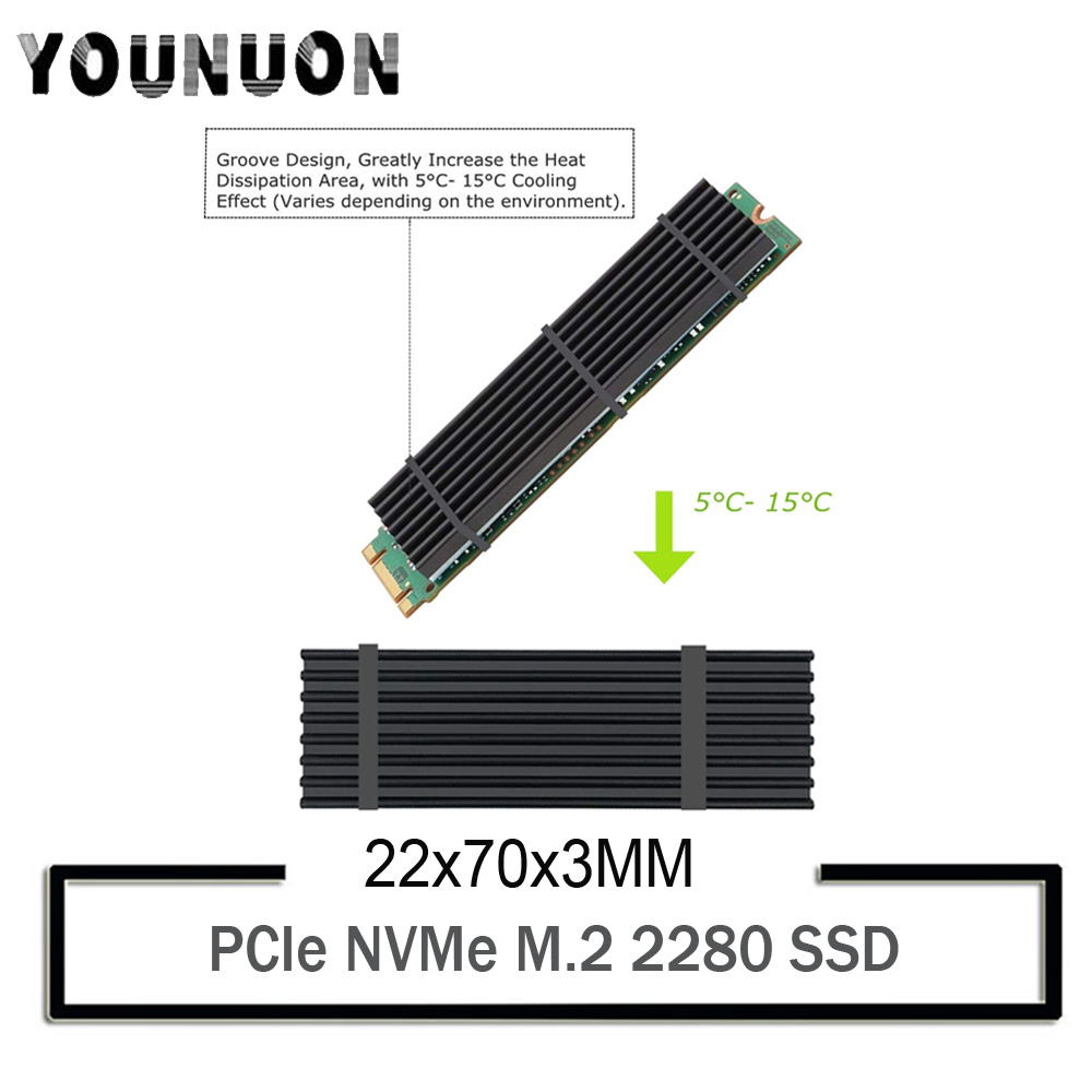 2Pcs YOUNUON Aluminum Heatsinks for PCIe NVMe M.2 2280 SSD with Silicone Thermal Pad, DIY Laptop PC Memory Cooling Fin Radiation(China)