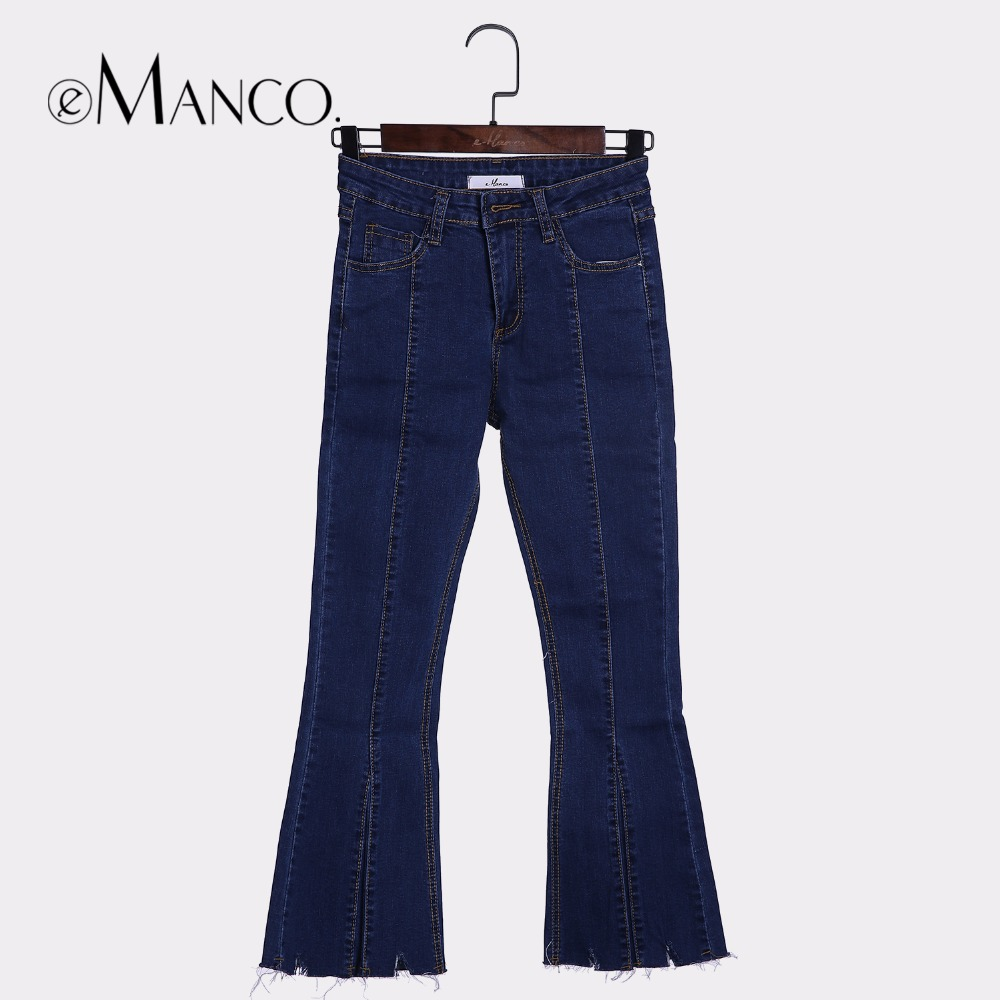 eManco 4 size Jeans for women Blue Mid waist Washed denim pants female skinny flare pants mujer Ankle-Length Straight trousers new fashion suspender jeans overalls trousers denim female straight dark blue washed women pants jumpersuit rompers