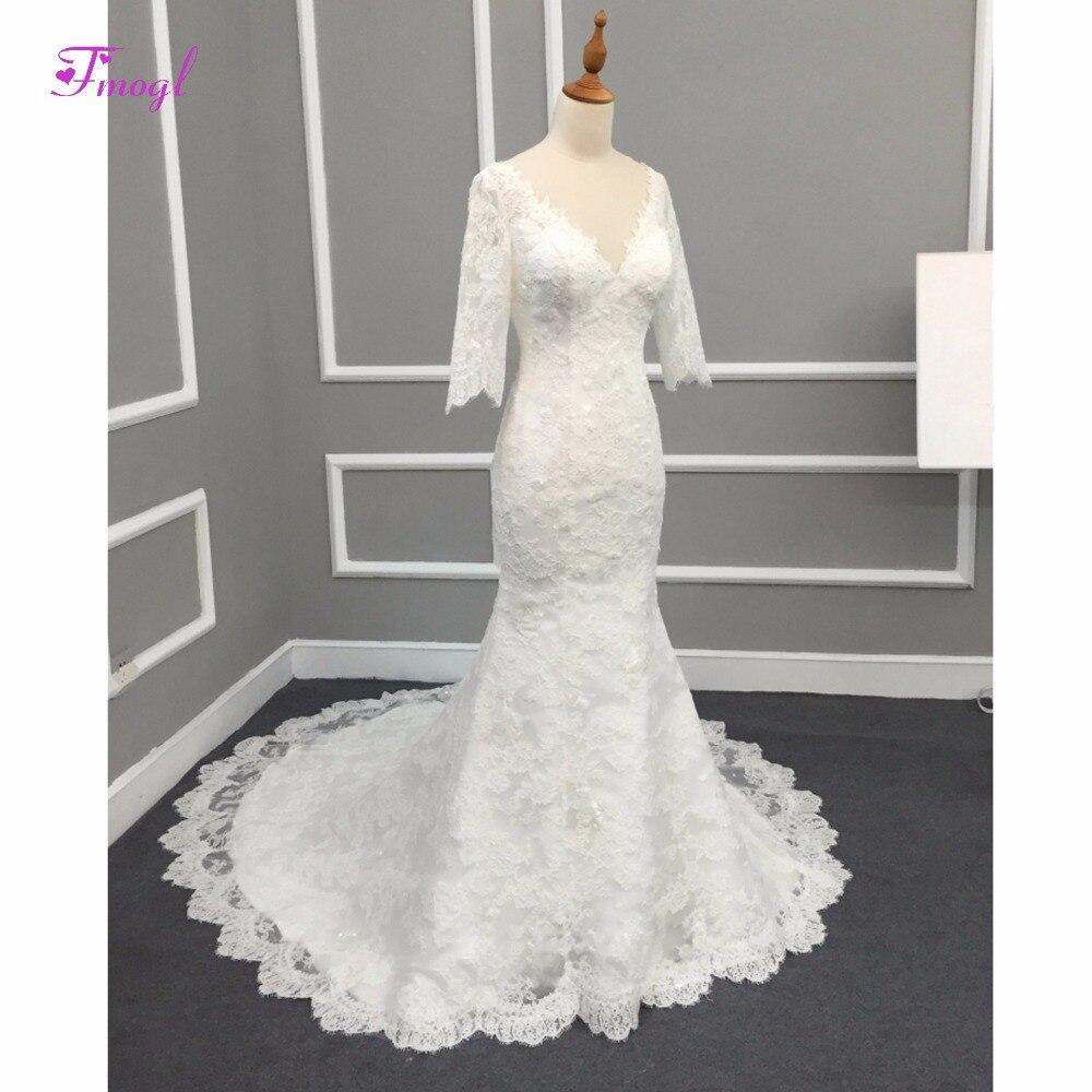 Fmogl Charming Deep V Neck Appliques Lace Mermaid Wedding