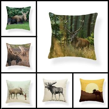 Viñetas de animales, suministros de sofá para el hogar, funda de cojín, almohada de algodón, lino, alce, montaña, dibujo de alces, funda de almohada decorativa