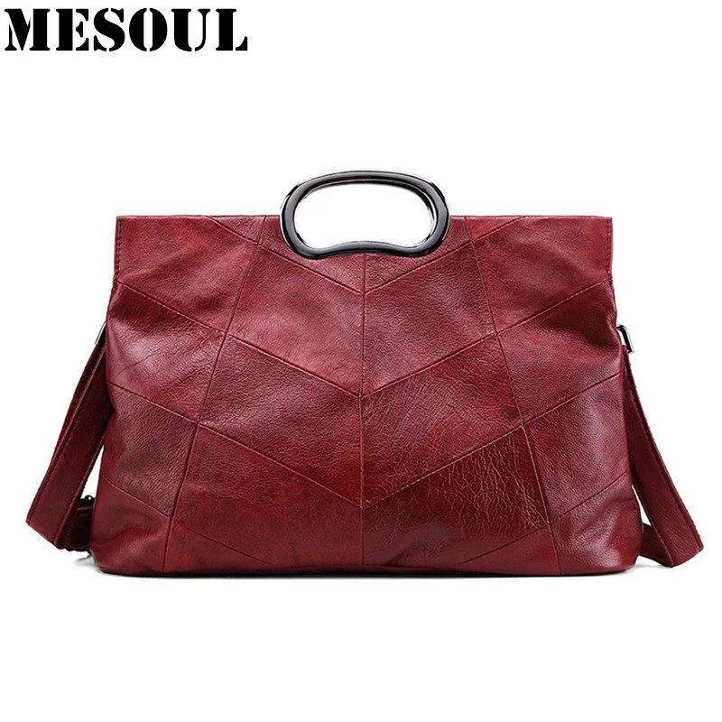 Women Handbag Casual Tote Genuine Leather Shoulder Bags For Ladies Crossbody Bag Burgundy High Quality Famous