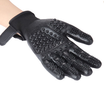 Pet Grooming Gloves Dog Cat Hair Cleaning Brush Comb Black Rubber Five Fingers Deshedding Pet Glove For Dog Cat 3