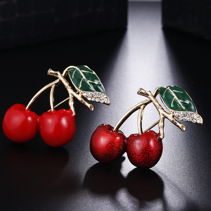 Red Brooches For Women Kids Cherry Brooch Corsage Small Bouquet Hijab Pins Feminino Party Bag Dress Accessories wholesale gold earrings for women