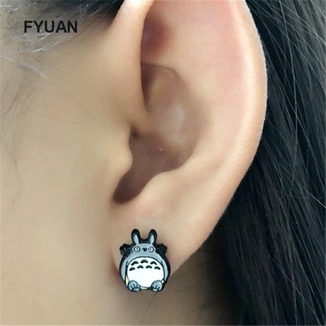 Totoro Asymmetry Animal Stud Earrings