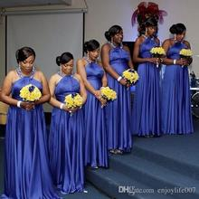 O-Neck Beaded Royal Blue A-Line Bridesmaids Dresses Sweep Train African Style 2017 Custom Plus Size Wedding Guest Dresses BD210