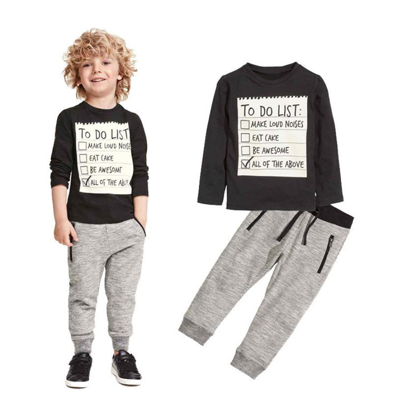 1Set Kids Toddler Boys Handsome Black Blouse + Gray Casual Pants Letters Printe 2017 New children clothing