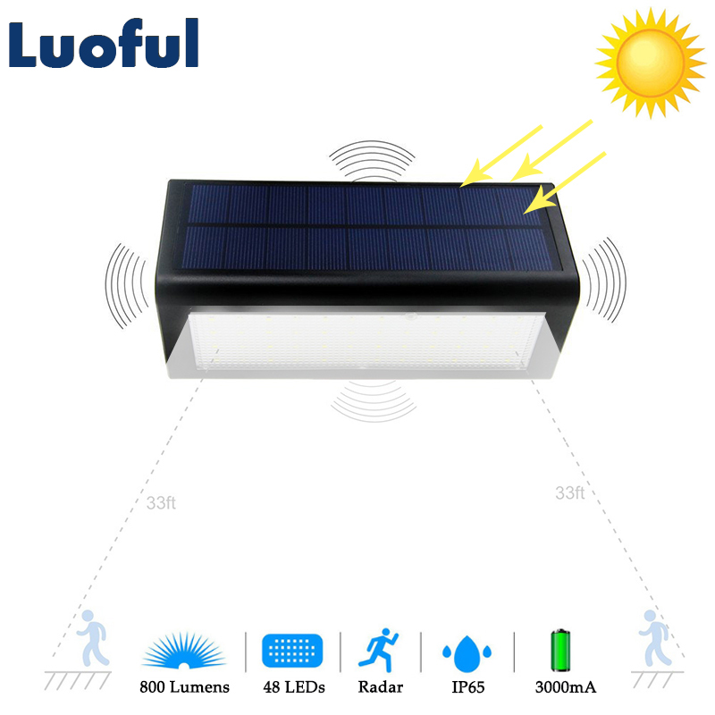 48 LED Radar Motion Sensor Solar Lamp Outdoor Garden Light Solar Panel Power Wall Lamp Path Patio Yard Street Security Lights