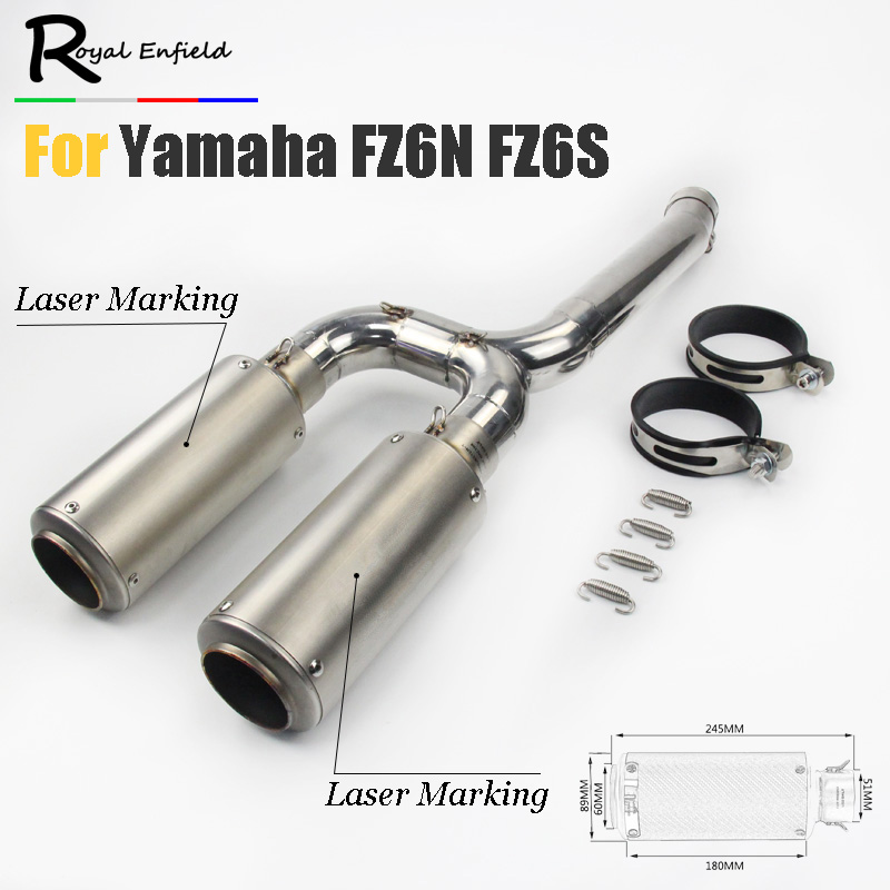 FZ6N FZ6s Motorcycle Exhaust Muffler Mid Pipe Slip-on For Yamaha FZ-6N FZ-6S FZ6 Middle pipe with exhaust pipe and laser logo motorcycle aluminum cooler radiator for yamaha fz6 fz6n fz6 n fz6s 2006 2007 2008 2009 2010