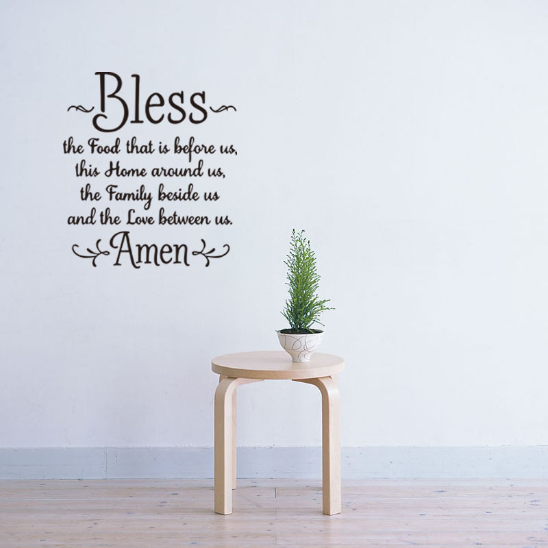 Prayer Wall Decal Bless The Food Before Us,The Family Beside, And The Love Between Us. Amen Bible Vinyl Decal ...